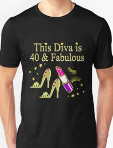 GOLD SPARKLING FABULOUS 40TH DESIGN Unisex T-Shirt