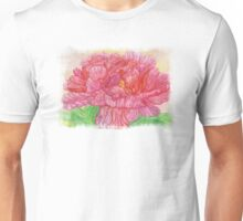 Pink Peony Misted Linen Mask Watercolor Unisex T-Shirt