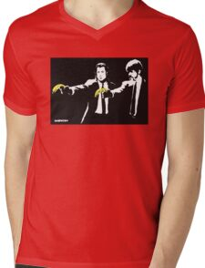 Banksy - Pulp Fiction Banana Guns Mens V-Neck T-Shirt