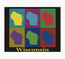Colorful Wisconsin Pop Art Map Kids Clothes