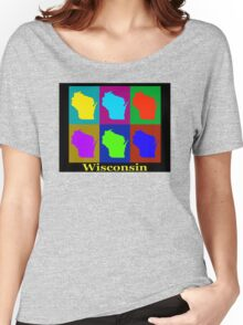 Colorful Wisconsin Pop Art Map Women's Relaxed Fit T-Shirt