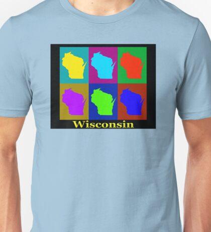 Colorful Wisconsin Pop Art Map Unisex T-Shirt