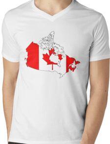 Canadian Flag in Map Mens V-Neck T-Shirt