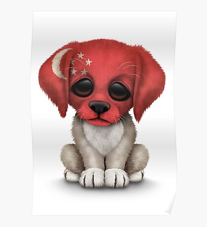 Cute Patriotic Singapore Flag Puppy Dog Poster
