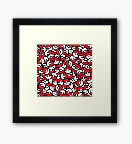 Poke Ball Pattern Framed Print