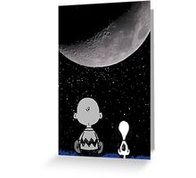 snoopy and charlie look at the moon Greeting Card