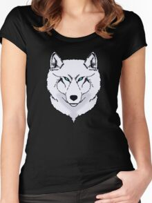 Blue eyes snow wolf Women's Fitted Scoop T-Shirt