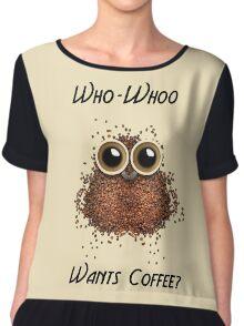 Who-Whoo Wants Coffee Owl Chiffon Top