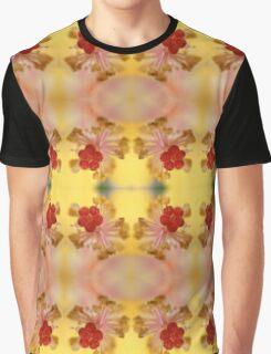 Yellow Hibiscus Stamen Pattern Graphic T-Shirt