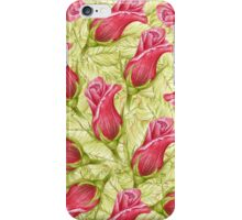 pattern leaves and roses. color pencil iPhone Case/Skin