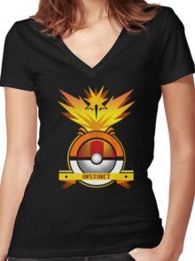 Yelow Team Pokemon GO Women's Fitted V-Neck T-Shirt