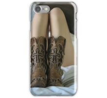 Sexy blonde lying on the white bed iPhone Case/Skin