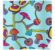 Psychedelic Magic Mushroom Ornament 0003 Poster