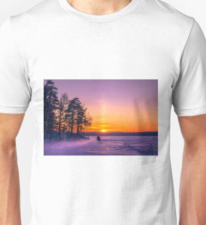 The snow mobile race toward the Sun pillar Unisex T-Shirt