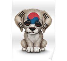 Cute Patriotic South Korean Flag Puppy Dog Poster