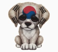 Cute Patriotic South Korean Flag Puppy Dog Baby Tee