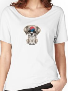 Cute Patriotic South Korean Flag Puppy Dog Women's Relaxed Fit T-Shirt