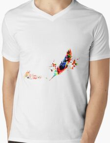 Feather Music Mens V-Neck T-Shirt