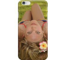 sexy Blonde woman laying on grass   iPhone Case/Skin