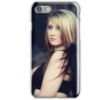 Portrait of blond young woman posing outdoors iPhone Case/Skin