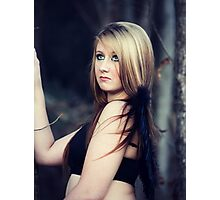 Portrait of blond young woman posing outdoors Photographic Print