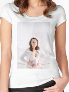 Pregnant Happy smiling Woman sitting on a sofa  Women's Fitted Scoop T-Shirt