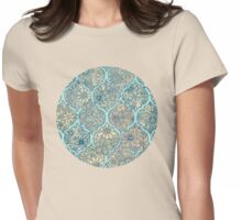 Moroccan Floral Lattice Arrangement - aqua / teal Womens Fitted T-Shirt