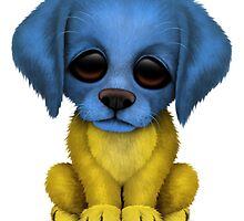 Cute Patriotic Ukrainian Flag Puppy Dog by Jeff Bartels