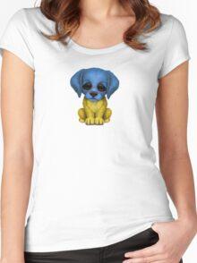 Cute Patriotic Ukrainian Flag Puppy Dog Women's Fitted Scoop T-Shirt
