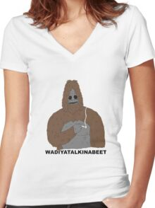 smoking yeti  Women's Fitted V-Neck T-Shirt