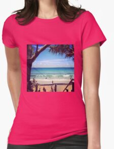 Looking down on Little Cove Beach, Noosa Womens Fitted T-Shirt