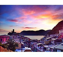 Pink Vernazza Sunset, Cinque Terre Photographic Print