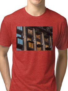 Big Ben Abstract - The Iconic Clock Reflected On A Wall Of Windows Tri-blend T-Shirt