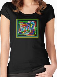 """""""Concentrification"""" Transparent Overlay Women's Fitted Scoop T-Shirt"""