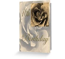 Happy 16th Birthday Rose in Sepia Greeting Card