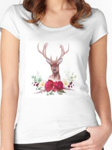 Deer and elegant autumn horizontal floral bouquet vector design objects. Women's Fitted Scoop T-Shirt
