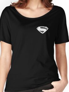Super Men - Small - (White) Women's Relaxed Fit T-Shirt