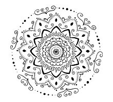 Simple black and white mandala Photographic Print