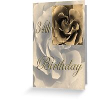Happy 34th Birthday Rose in Sepia Greeting Card