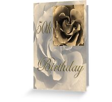 Happy 50th Birthday Rose in Sepia Greeting Card