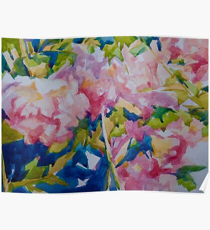 Peony blue Poster