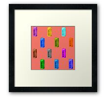 Phone booth on peach echo background Framed Print