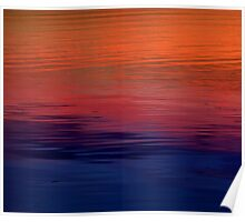 Ocean Sunset, orange, red, purple, black Poster