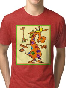 """WHIMSICAL ABSTRACT GIRAFFES"" Colorful Print Tri-blend T-Shirt"