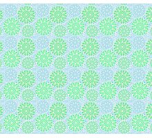 Mandala Flowers in green and blue Photographic Print