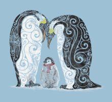 Swirly Penguin Family Kids Tee