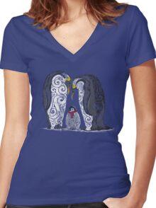 Swirly Penguin Family Women's Fitted V-Neck T-Shirt