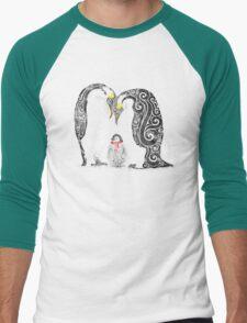 Swirly Penguin Family Men's Baseball ¾ T-Shirt