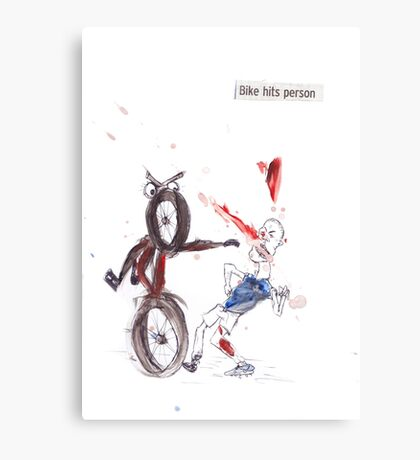 Bike Hits Person Canvas Print