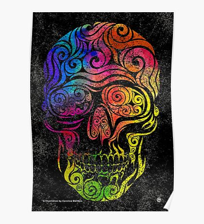 Swirly Skull (Color) Poster